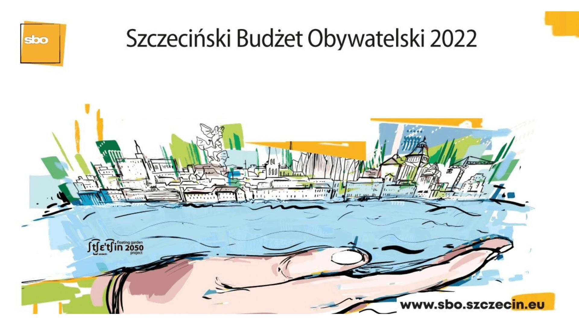 Grafika przedstawia wyciągniętą dłoń na której leży widok Odry z budynkami stojącymi nad brzegiem rzeki.