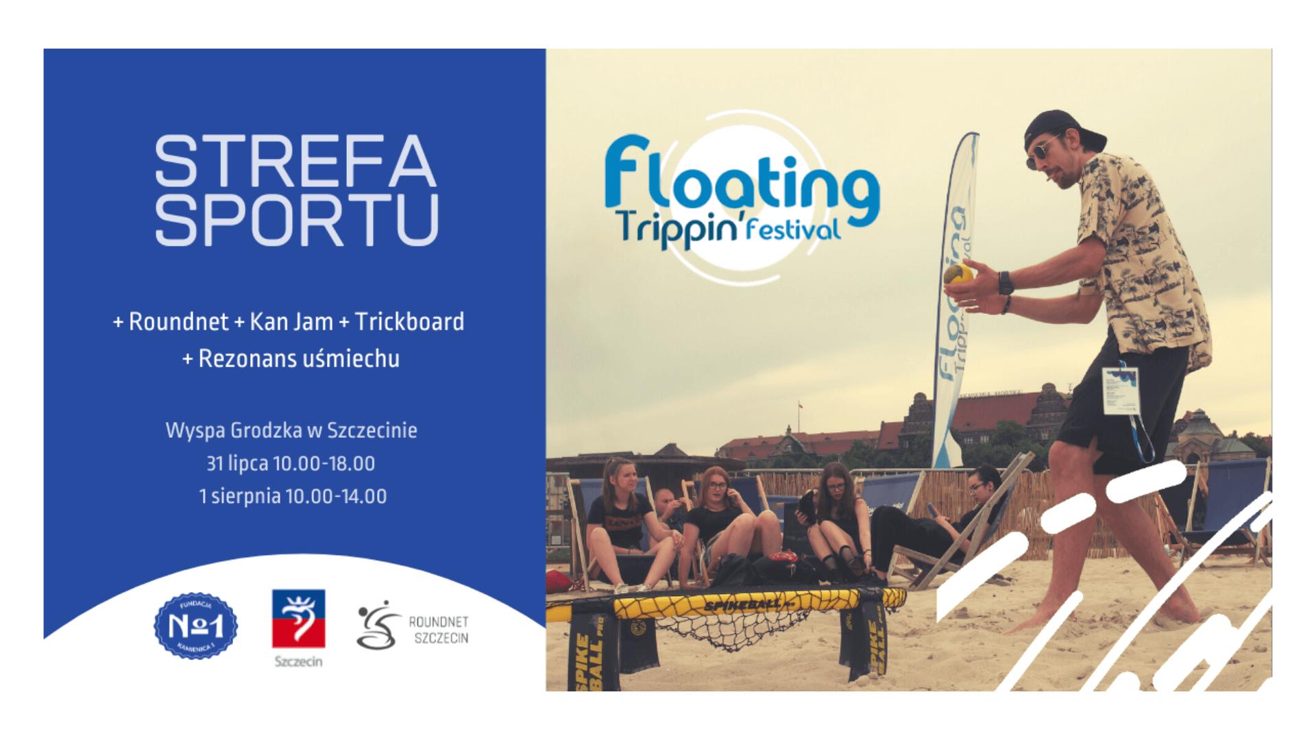 W prawej części grafiki znajduje się mężczyzna grający w roundnet na plaży. W lewej częsci grafiki na niebieskim tle znajduje się tekst Strefa sportu oraz informacje o terminie wydarzenia - 31 lipca godzina 10 - 18, 1 sierpnia 10 - 14